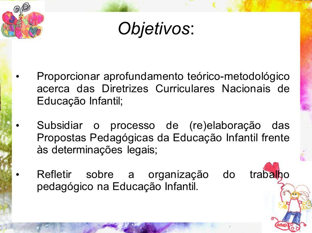 Objetivos: Proporcionar aprofundamento teórico-metodológico acerca das Diretrizes Curriculares Nacionais de Educação Infantil; Subsidiar o processo de