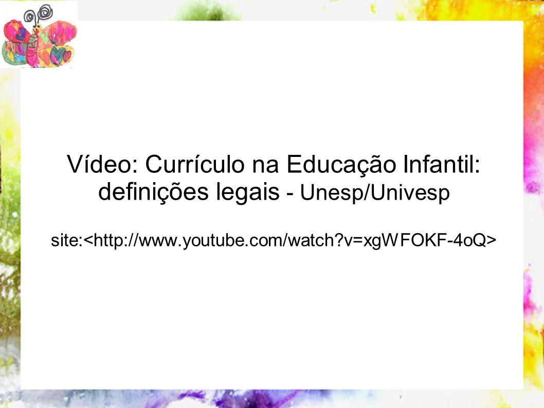 Vídeo: Currículo na Educação Infantil: definições legais - Unesp/Univesp site: