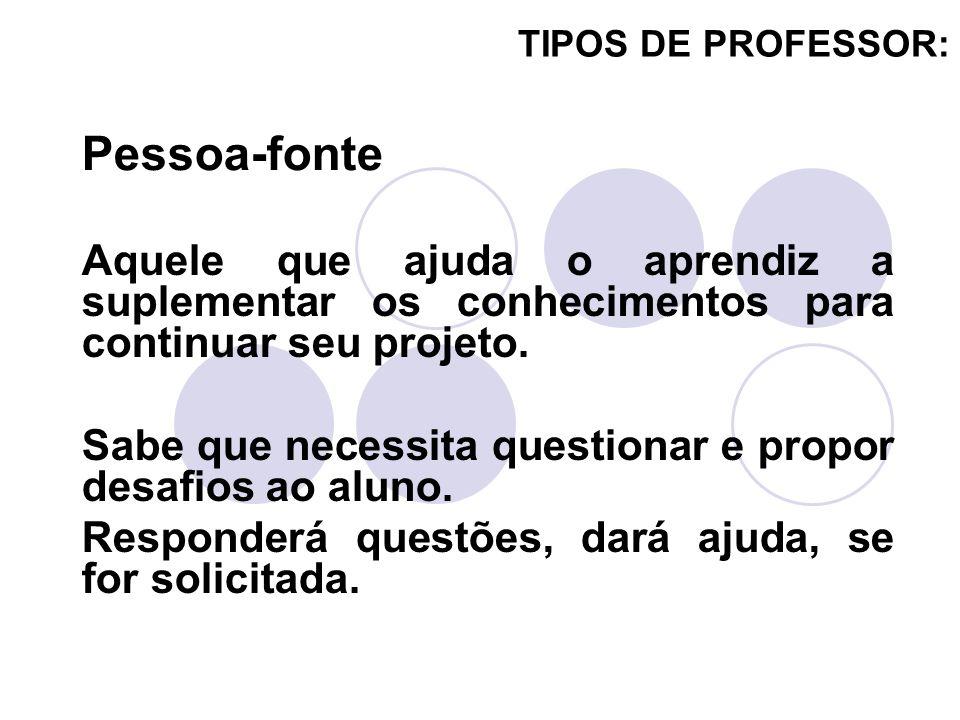 TIPOS DE PROFESSOR: Aquele que ajuda o aprendiz a suplementar os conhecimentos para continuar seu projeto. Sabe que necessita questionar e propor desa