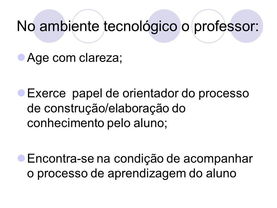 No ambiente tecnológico o professor: Age com clareza; Exerce papel de orientador do processo de construção/elaboração do conhecimento pelo aluno; Enco