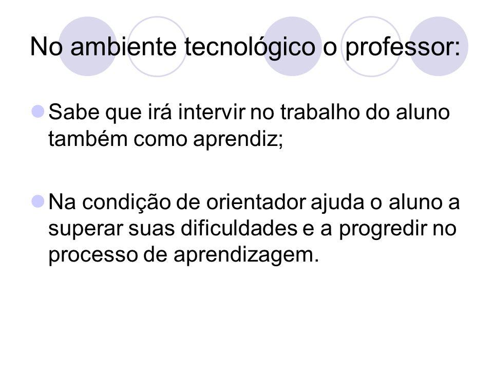 No ambiente tecnológico o professor: Sabe que irá intervir no trabalho do aluno também como aprendiz; Na condição de orientador ajuda o aluno a supera