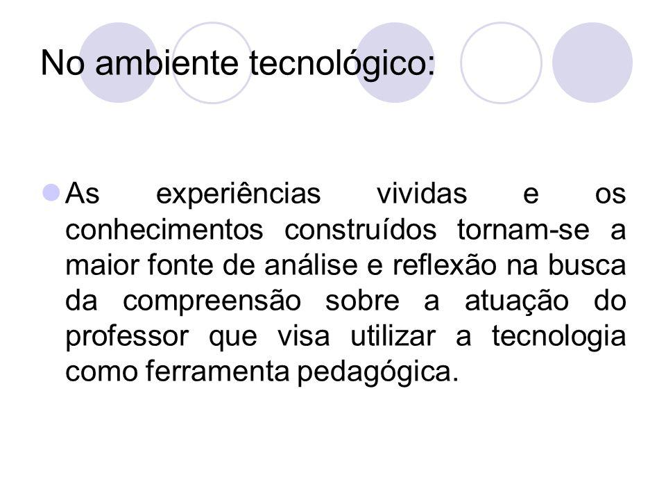 No ambiente tecnológico: As experiências vividas e os conhecimentos construídos tornam-se a maior fonte de análise e reflexão na busca da compreensão