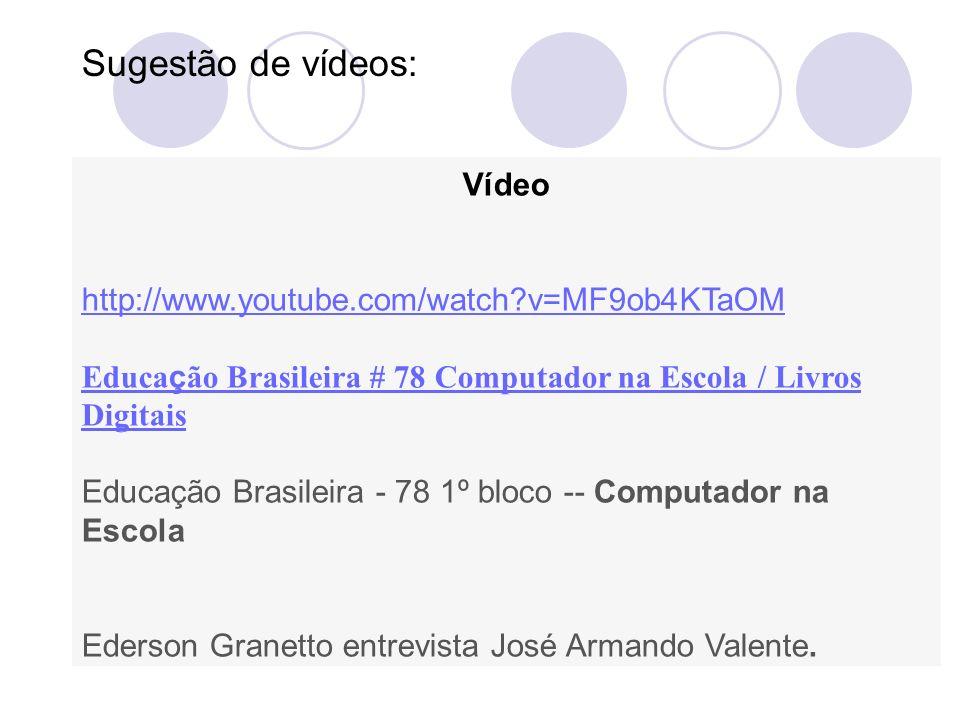 Vídeo http://www.youtube.com/watch?v=MF9ob4KTaOM Educa ç ão Brasileira # 78 Computador na Escola / Livros Digitais Educação Brasileira - 78 1º bloco -