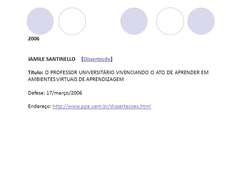 2006 JAMILE SANTINELLO [Dissertação]Dissertação Título: O PROFESSOR UNIVERSITÁRIO VIVENCIANDO O ATO DE APRENDER EM AMBIENTES VIRTUAIS DE APRENDIZAGEM