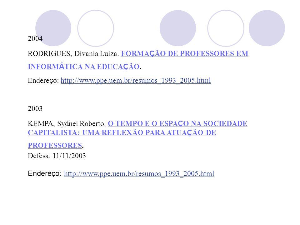 2004 RODRIGUES, Divania Luiza. FORMA Ç ÃO DE PROFESSORES EM INFORM Á TICA NA EDUCA Ç ÃO.FORMA Ç ÃO DE PROFESSORES EM INFORM Á TICA NA EDUCA Ç ÃO Ender