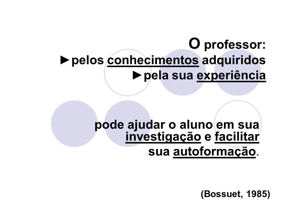 O professor:pelos conhecimentos adquiridospela sua experiência pode ajudar o aluno em sua investigação e facilitar sua autoformação. (Bossuet, 1985)