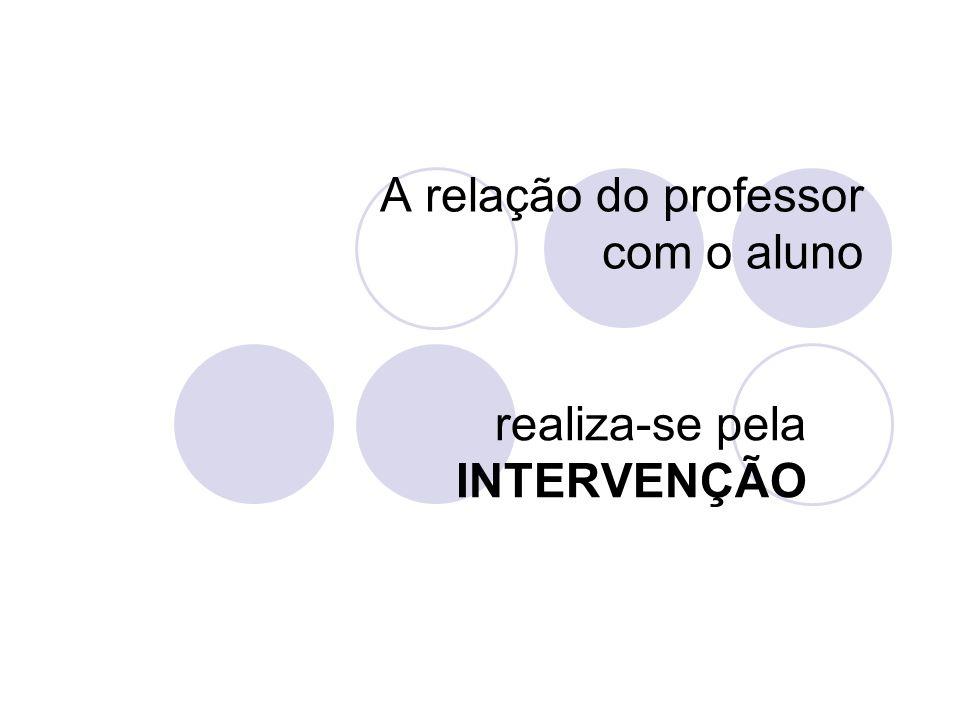 A relação do professor com o aluno realiza-se pela INTERVENÇÃO