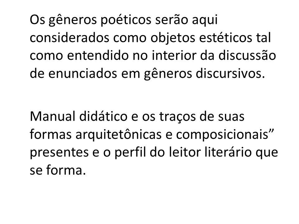 Os gêneros poéticos serão aqui considerados como objetos estéticos tal como entendido no interior da discussão de enunciados em gêneros discursivos. M