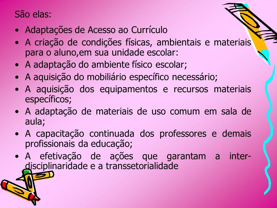 Adaptações Curriculares de Pequeno Porte Compreendem modificações menores, de competência específica do professor.