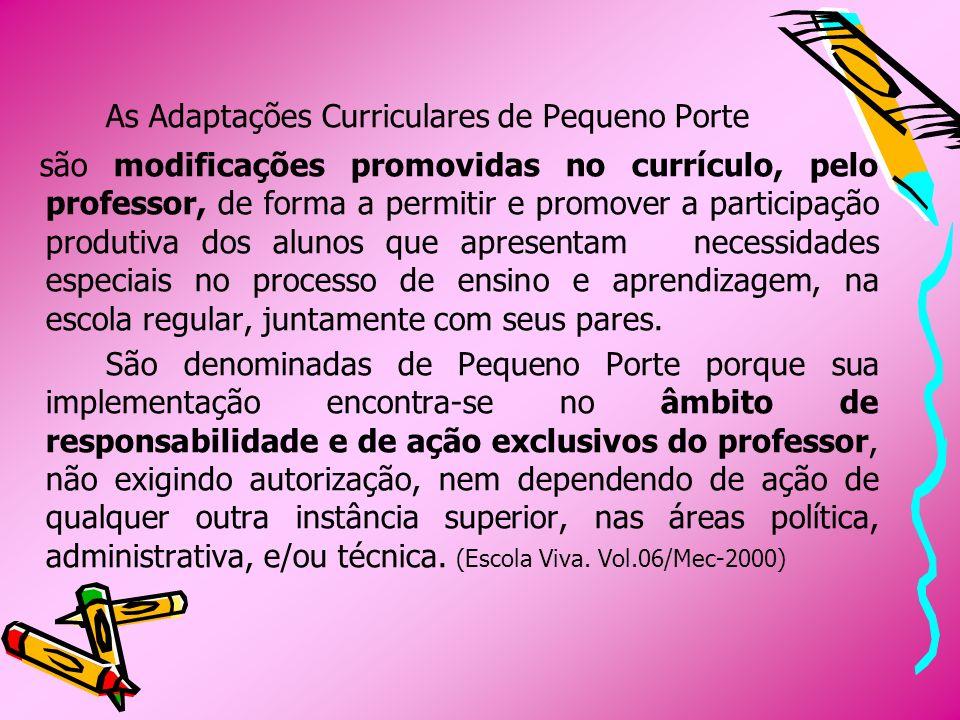 As Adaptações Curriculares de Pequeno Porte são modificações promovidas no currículo, pelo professor, de forma a permitir e promover a participação pr