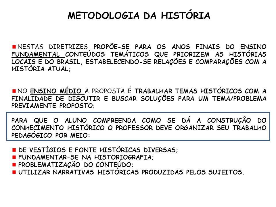 METODOLOGIA DA HISTÓRIA NESTAS DIRETRIZES PROPÕE-SE PARA OS ANOS FINAIS DO ENSINO FUNDAMENTAL CONTEÚDOS TEMÁTICOS QUE PRIORIZEM AS HISTÓRIAS LOCAIS E