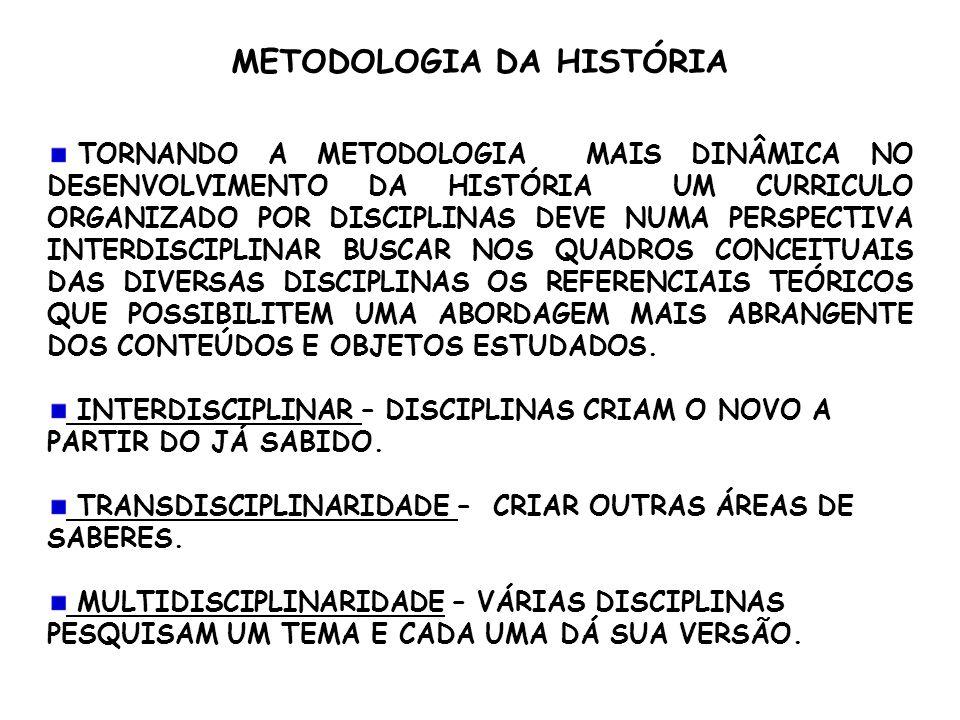 METODOLOGIA DA HISTÓRIA TORNANDO A METODOLOGIA MAIS DINÂMICA NO DESENVOLVIMENTO DA HISTÓRIA UM CURRICULO ORGANIZADO POR DISCIPLINAS DEVE NUMA PERSPECT