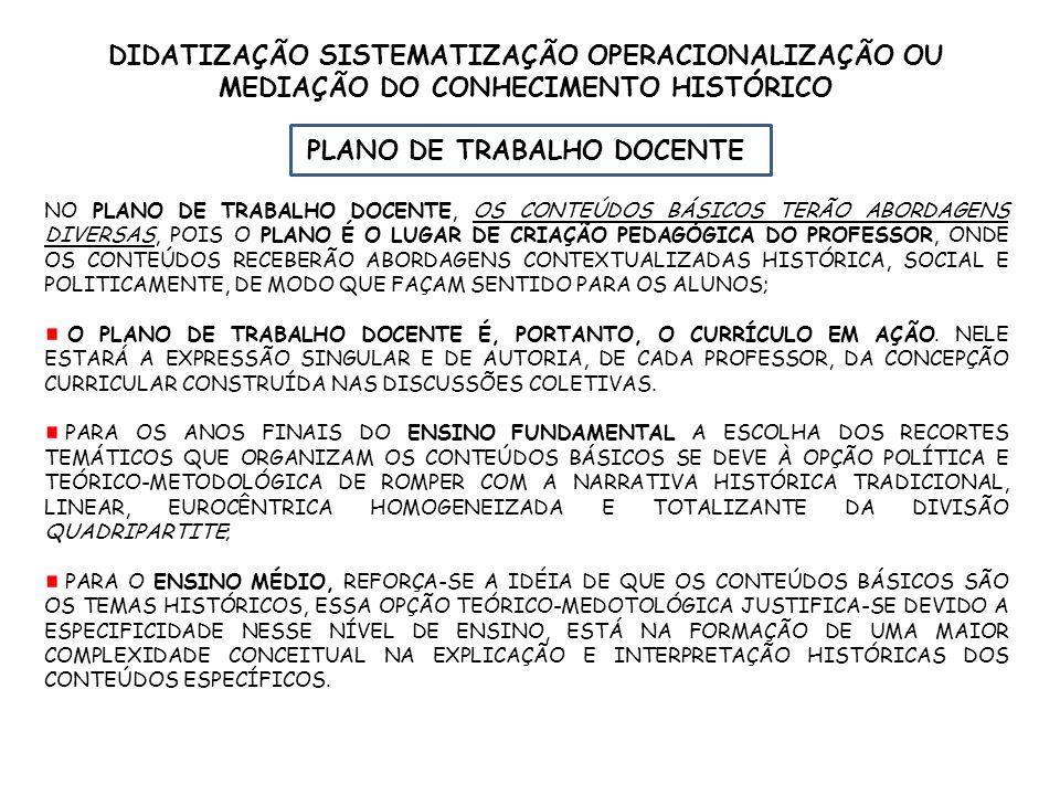 DIDATIZAÇÃO SISTEMATIZAÇÃO OPERACIONALIZAÇÃO OU MEDIAÇÃO DO CONHECIMENTO HISTÓRICO PLANO DE TRABALHO DOCENTE NO PLANO DE TRABALHO DOCENTE, OS CONTEÚDO