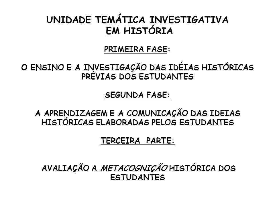 UNIDADE TEMÁTICA INVESTIGATIVA EM HISTÓRIA PRIMEIRA FASE: O ENSINO E A INVESTIGAÇÃO DAS IDÉIAS HISTÓRICAS PRÉVIAS DOS ESTUDANTES SEGUNDA FASE: A APREN