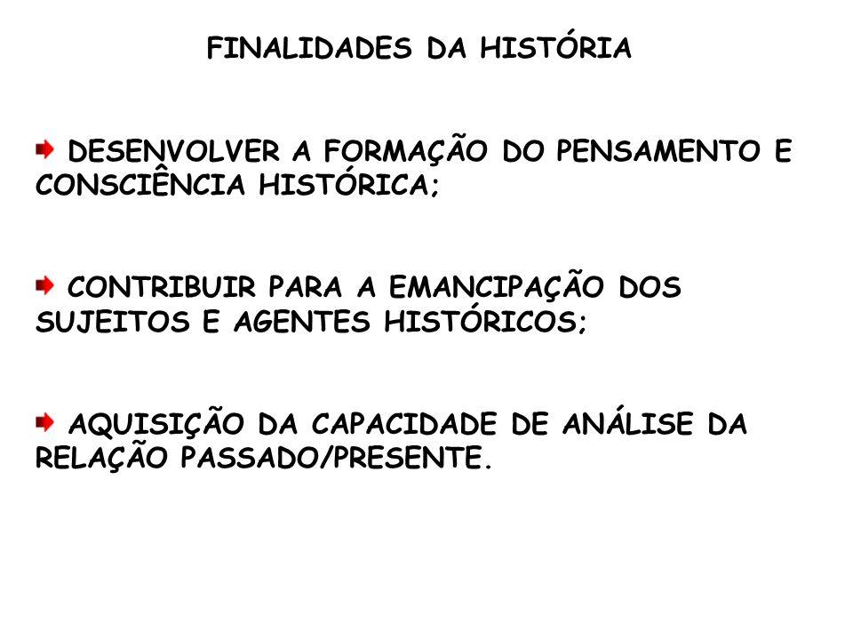 FINALIDADES DA HISTÓRIA DESENVOLVER A FORMAÇÃO DO PENSAMENTO E CONSCIÊNCIA HISTÓRICA; CONTRIBUIR PARA A EMANCIPAÇÃO DOS SUJEITOS E AGENTES HISTÓRICOS;
