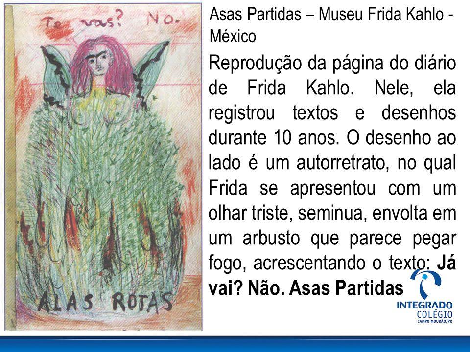 Reprodução da página do diário de Frida Kahlo. Nele, ela registrou textos e desenhos durante 10 anos. O desenho ao lado é um autorretrato, no qual Fri