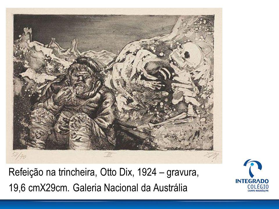 Refeição na trincheira, Otto Dix, 1924 – gravura, 19,6 cmX29cm. Galeria Nacional da Austrália