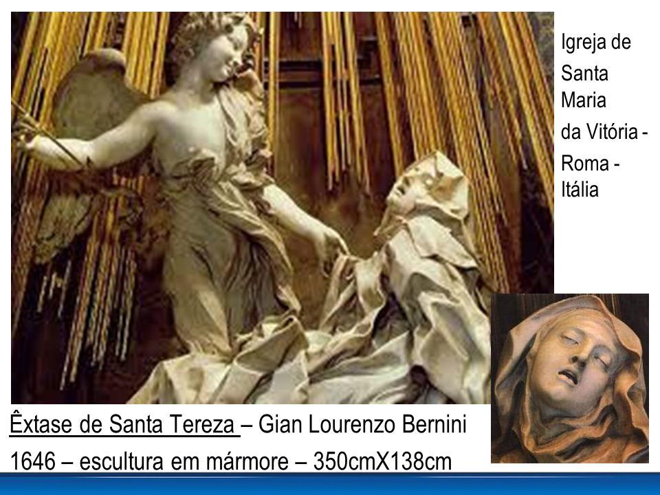 Êxtase de Santa Tereza – Gian Lourenzo Bernini 1646 – escultura em mármore – 350cmX138cm Igreja de Santa Maria da Vitória - Roma - Itália
