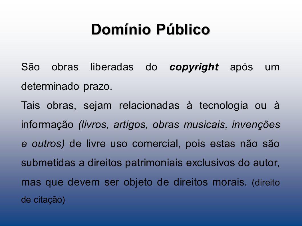 Domínio Público São obras liberadas do copyright após um determinado prazo. Tais obras, sejam relacionadas à tecnologia ou à informação (livros, artig