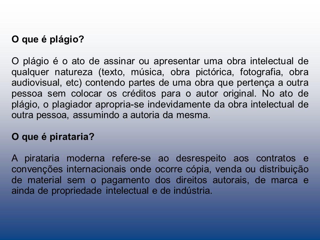 O que é plágio? O plágio é o ato de assinar ou apresentar uma obra intelectual de qualquer natureza (texto, música, obra pictórica, fotografia, obra a