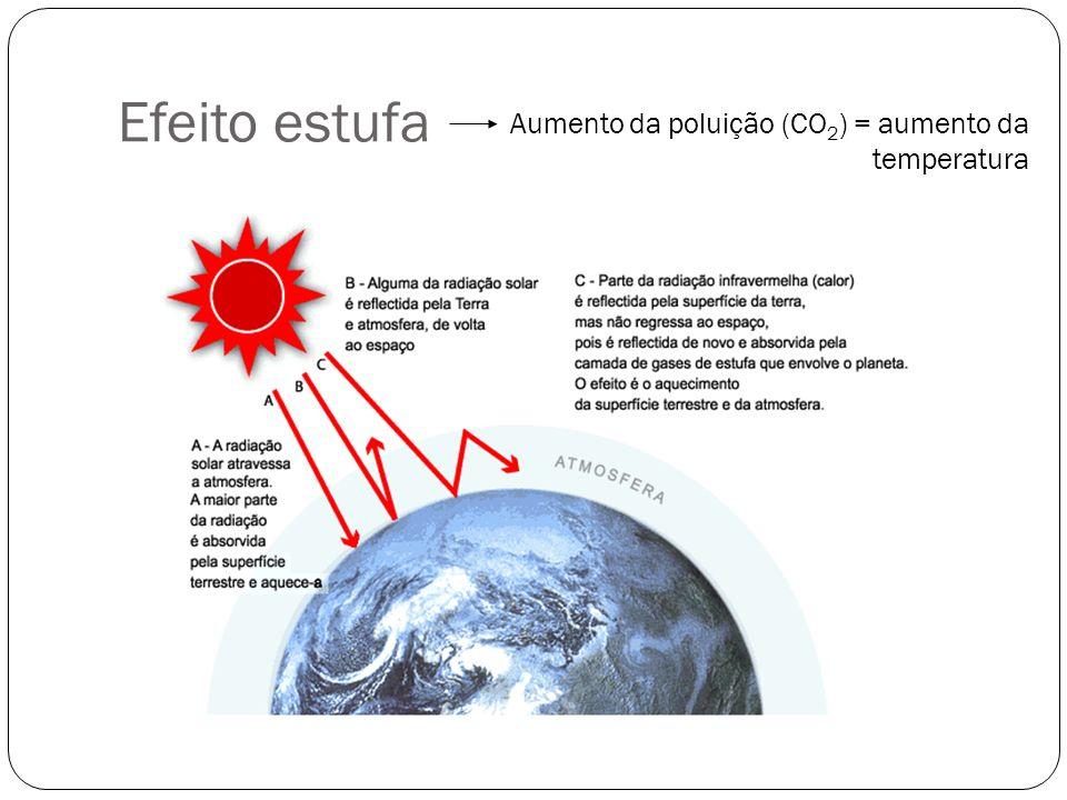 Efeito estufa Aumento da poluição (CO 2 ) = aumento da temperatura