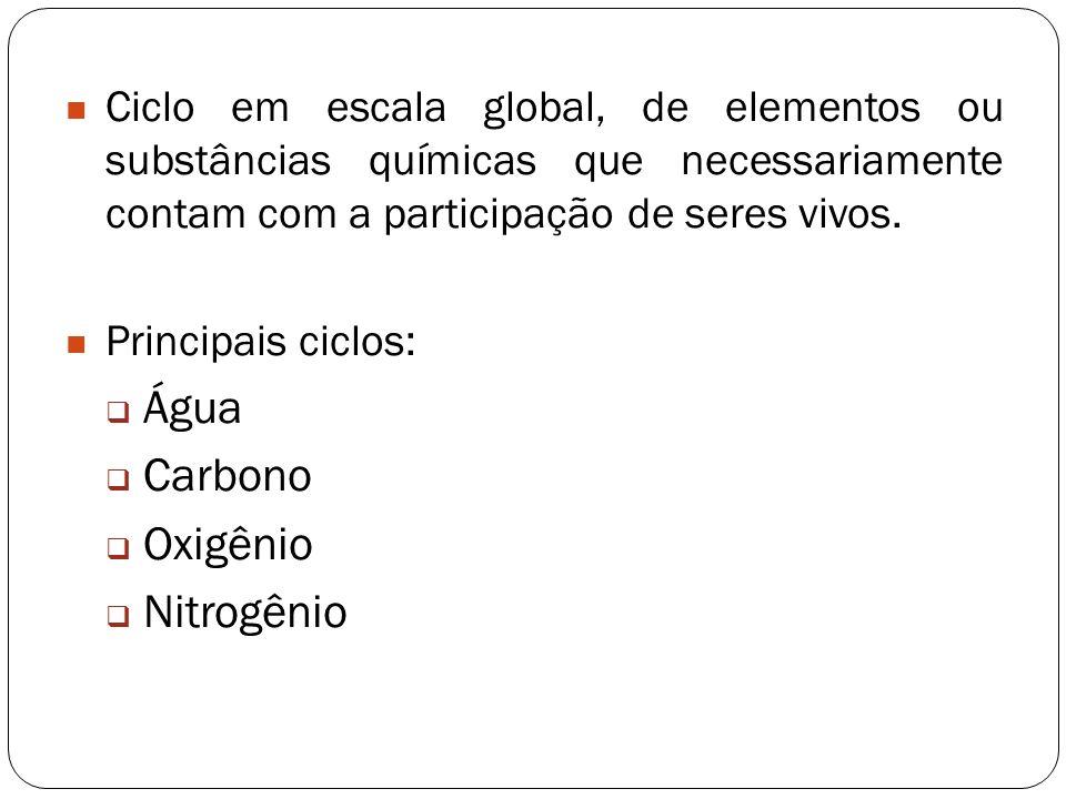 Ciclo em escala global, de elementos ou substâncias químicas que necessariamente contam com a participação de seres vivos. Principais ciclos: Água Car
