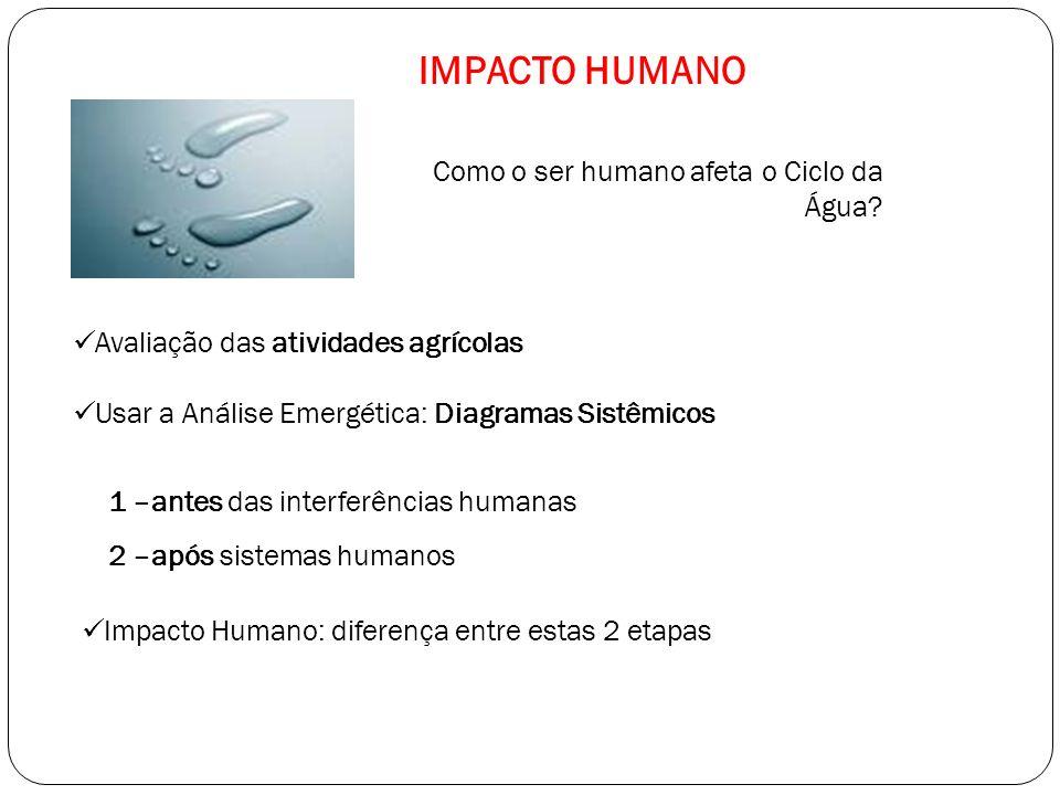 Como o ser humano afeta o Ciclo da Água? Usar a Análise Emergética: Diagramas Sistêmicos Impacto Humano: diferença entre estas 2 etapas Avaliação das
