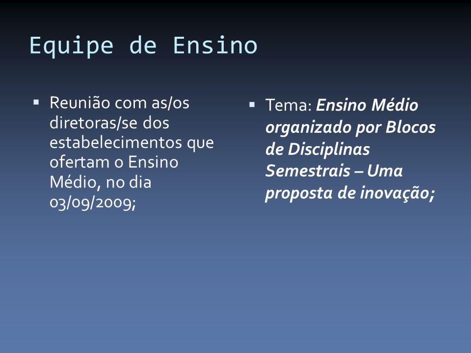Equipe de Ensino Reunião com as/os diretoras/se dos estabelecimentos que ofertam o Ensino Médio, no dia 03/09/2009; Tema: Ensino Médio organizado por Blocos de Disciplinas Semestrais – Uma proposta de inovação;