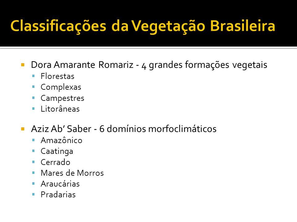 Dora Amarante Romariz - 4 grandes formações vegetais Florestas Complexas Campestres Litorâneas Aziz Ab Saber - 6 domínios morfoclimáticos Amazônico Ca