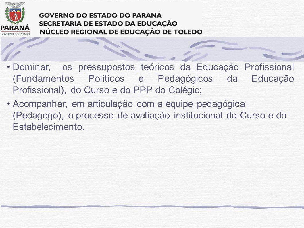 Dominar, os pressupostos teóricos da Educação Profissional (Fundamentos Políticos e Pedagógicos da Educação Profissional), do Curso e do PPP do Colégi