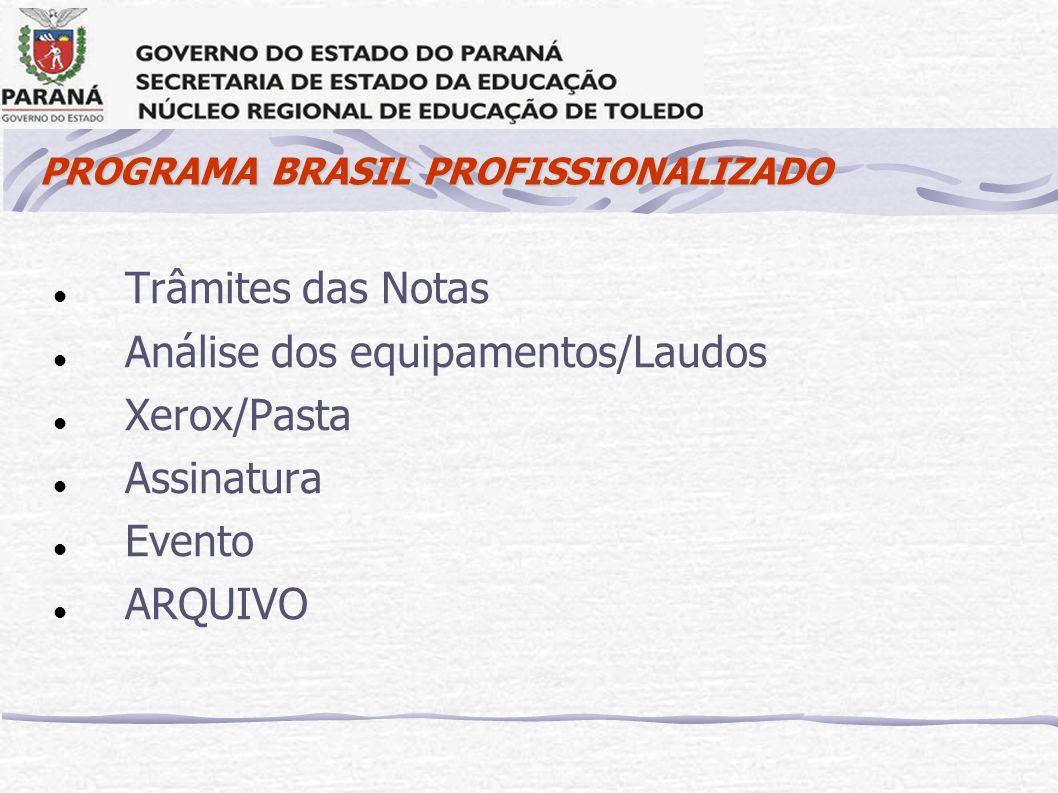 PROGRAMA BRASIL PROFISSIONALIZADO Trâmites das Notas Análise dos equipamentos/Laudos Xerox/Pasta Assinatura Evento ARQUIVO