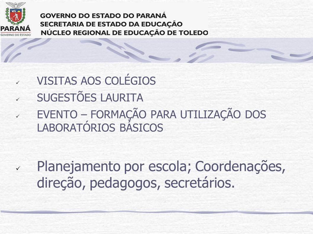 VISITAS AOS COLÉGIOS SUGESTÕES LAURITA EVENTO – FORMAÇÃO PARA UTILIZAÇÃO DOS LABORATÓRIOS BÁSICOS Planejamento por escola; Coordenações, direção, peda