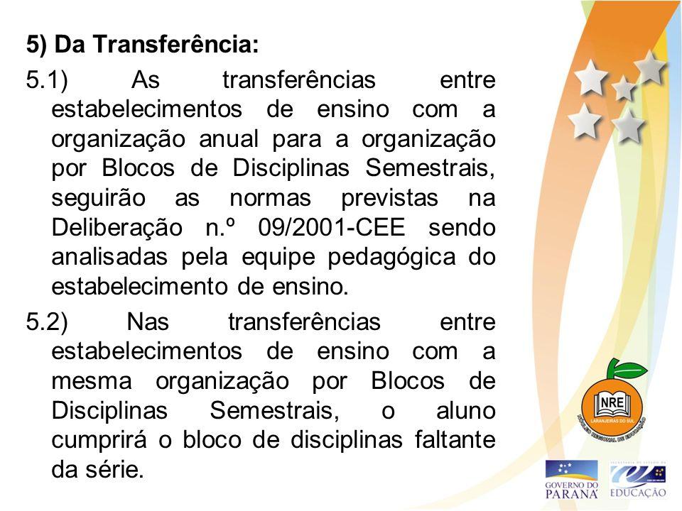5) Da Transferência: 5.1) As transferências entre estabelecimentos de ensino com a organização anual para a organização por Blocos de Disciplinas Seme