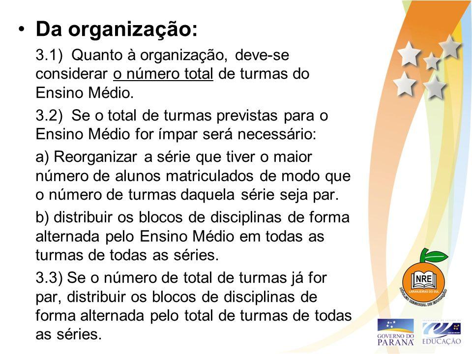 Da organização: 3.1) Quanto à organização, deve-se considerar o número total de turmas do Ensino Médio. 3.2) Se o total de turmas previstas para o Ens