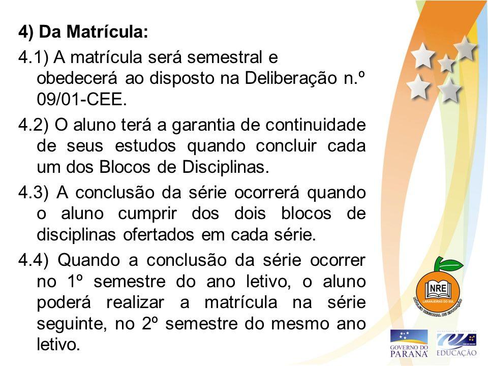 4) Da Matrícula: 4.1) A matrícula será semestral e obedecerá ao disposto na Deliberação n.º 09/01-CEE. 4.2) O aluno terá a garantia de continuidade de
