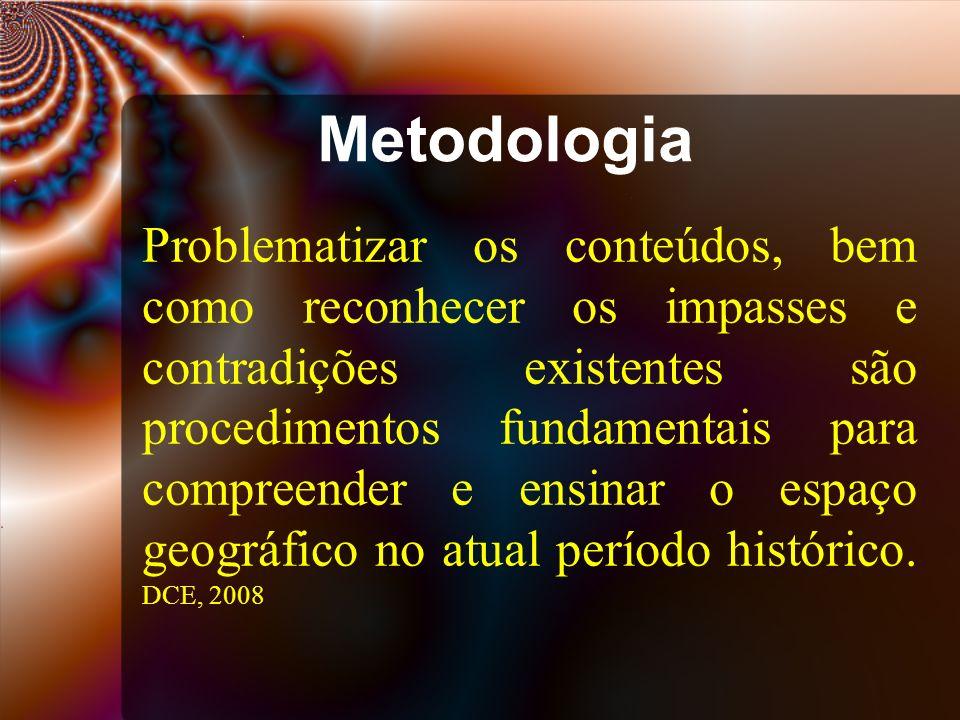 Metodologia Problematizar os conteúdos, bem como reconhecer os impasses e contradições existentes são procedimentos fundamentais para compreender e ensinar o espaço geográfico no atual período histórico.