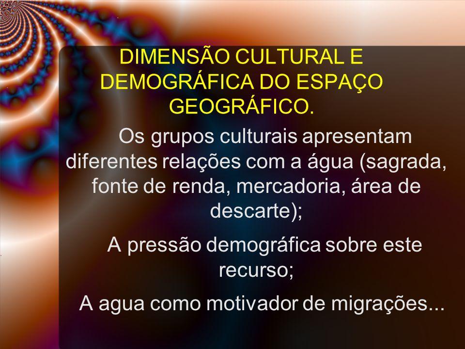 DIMENSÃO CULTURAL E DEMOGRÁFICA DO ESPAÇO GEOGRÁFICO.