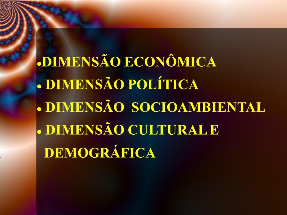 DIMENSÃO ECONÔMICA DIMENSÃO POLÍTICA DIMENSÃO SOCIOAMBIENTAL DIMENSÃO CULTURAL E DEMOGRÁFICA