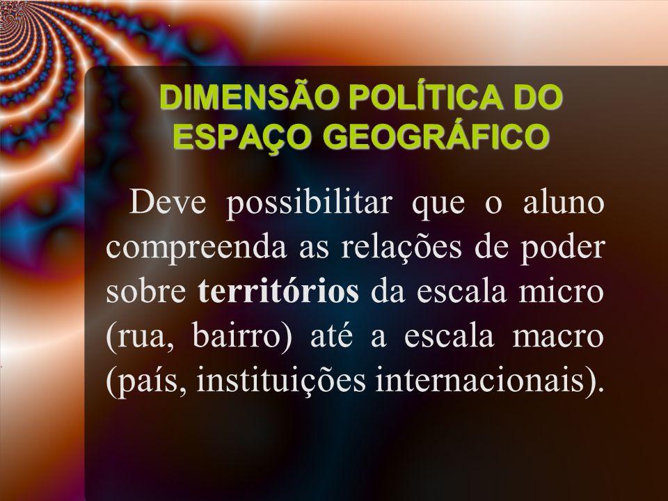 DIMENSÃO POLÍTICA DO ESPAÇO GEOGRÁFICO Deve possibilitar que o aluno compreenda as relações de poder sobre territórios da escala micro (rua, bairro) até a escala macro (país, instituições internacionais).