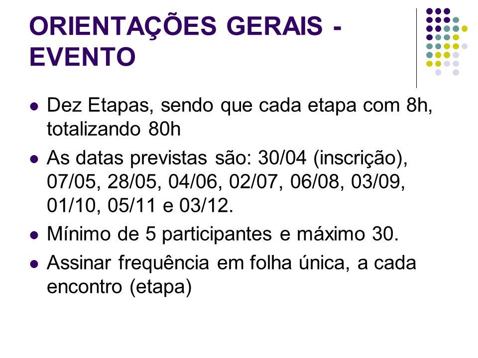 ORIENTAÇÕES GERAIS - EVENTO Dez Etapas, sendo que cada etapa com 8h, totalizando 80h As datas previstas são: 30/04 (inscrição), 07/05, 28/05, 04/06, 02/07, 06/08, 03/09, 01/10, 05/11 e 03/12.