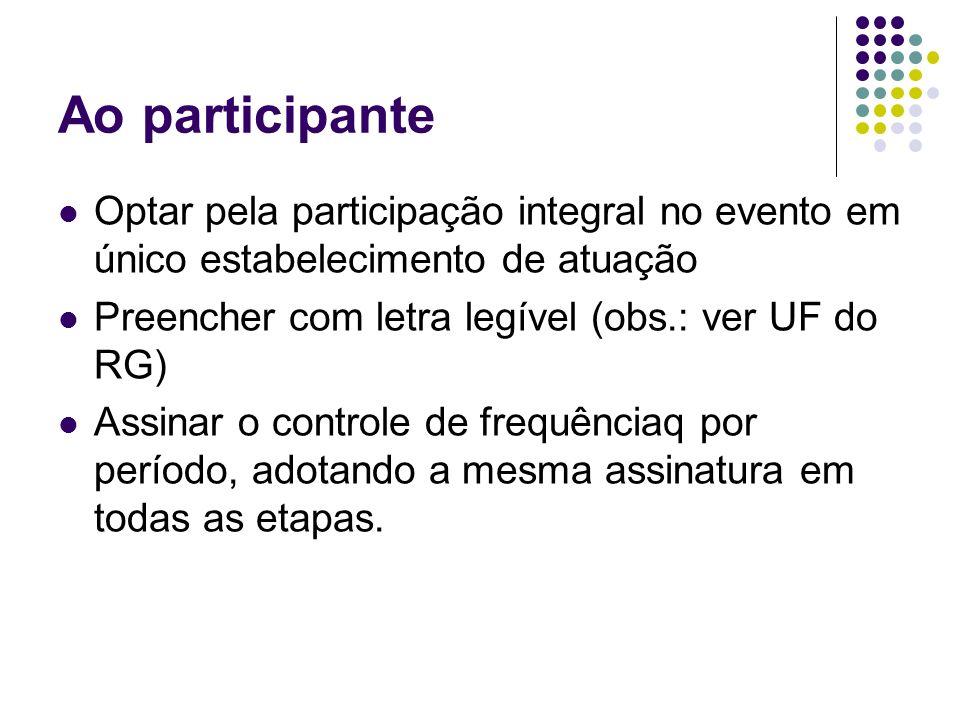 Ao participante Optar pela participação integral no evento em único estabelecimento de atuação Preencher com letra legível (obs.: ver UF do RG) Assina