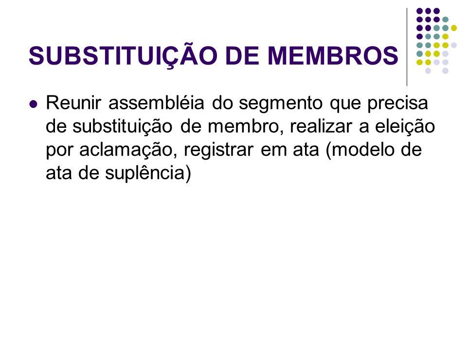 SUBSTITUIÇÃO DE MEMBROS Reunir assembléia do segmento que precisa de substituição de membro, realizar a eleição por aclamação, registrar em ata (modelo de ata de suplência)