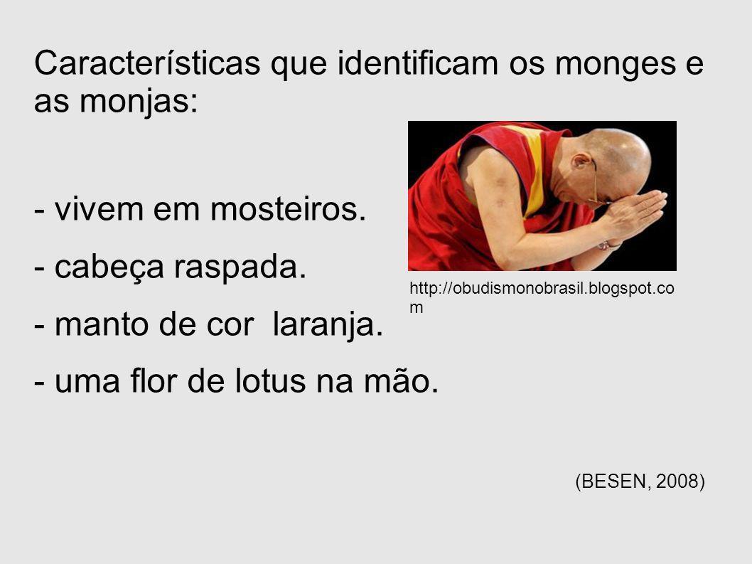 Características que identificam os monges e as monjas: - vivem em mosteiros. - cabeça raspada. - manto de cor laranja. - uma flor de lotus na mão. (BE