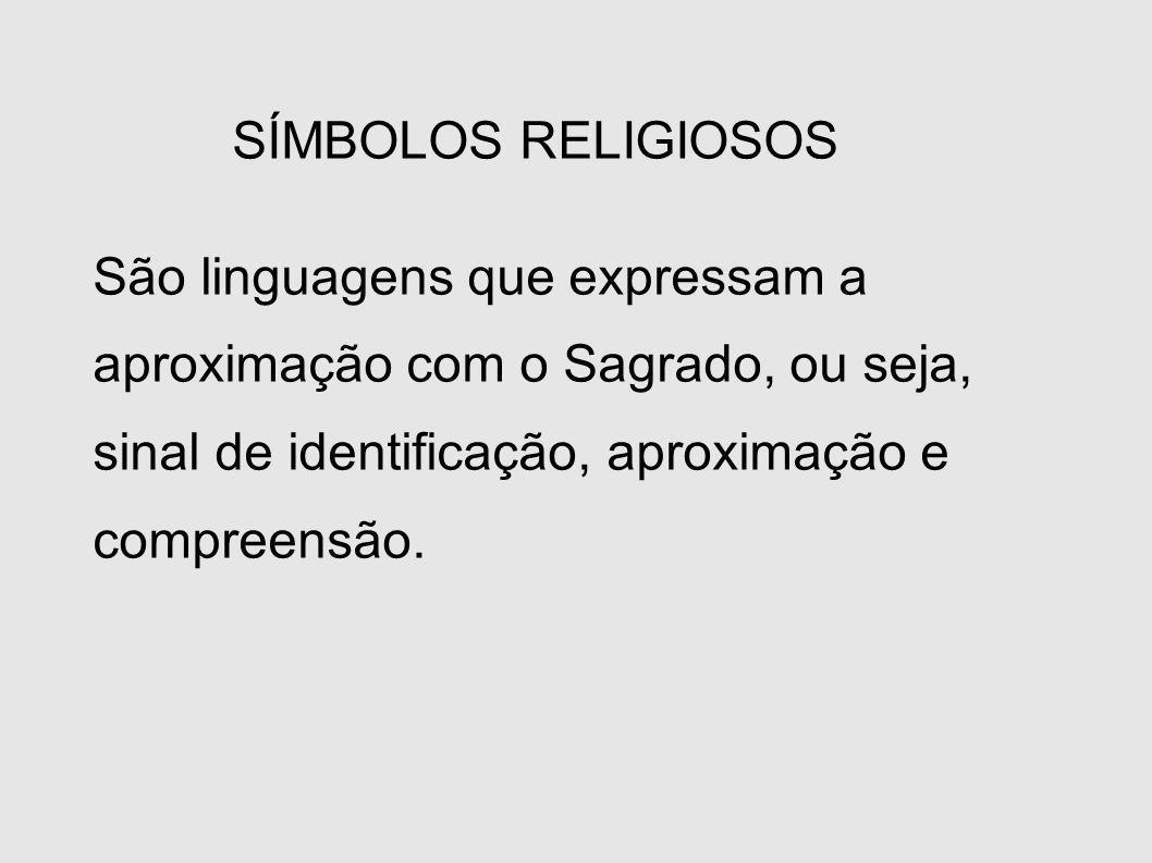 SÍMBOLOS RELIGIOSOS São linguagens que expressam a aproximação com o Sagrado, ou seja, sinal de identificação, aproximação e compreensão.