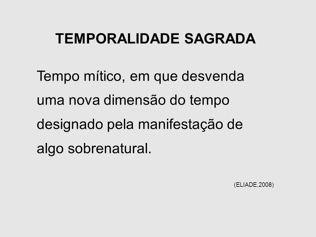 TEMPORALIDADE SAGRADA Tempo mítico, em que desvenda uma nova dimensão do tempo designado pela manifestação de algo sobrenatural. (ELIADE,2008)