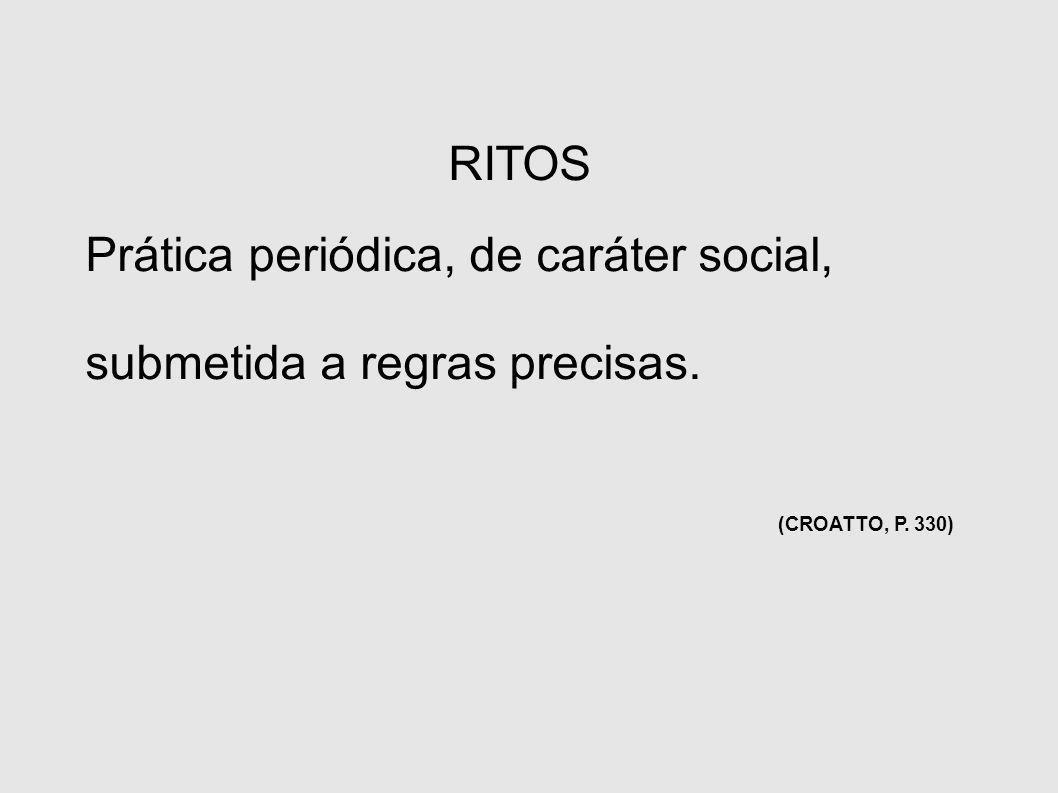 RITOS Prática periódica, de caráter social, submetida a regras precisas. (CROATTO, P. 330)