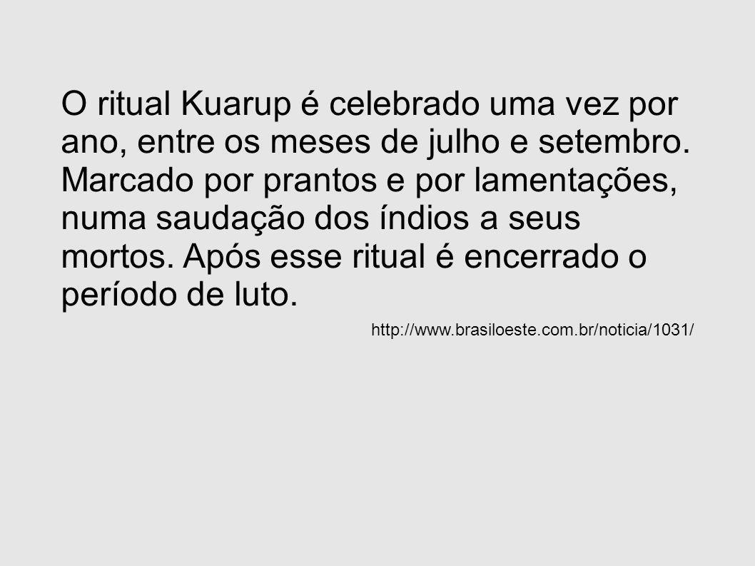 O ritual Kuarup é celebrado uma vez por ano, entre os meses de julho e setembro. Marcado por prantos e por lamentações, numa saudação dos índios a seu