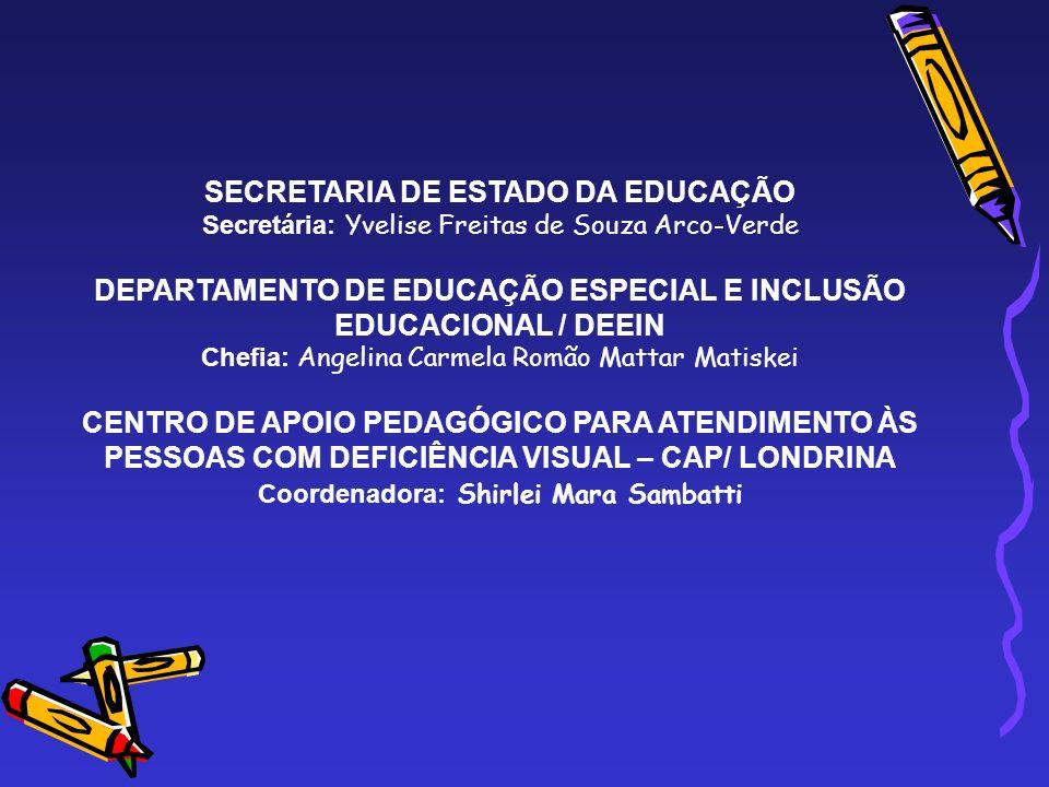 SECRETARIA DE ESTADO DA EDUCAÇÃO Secretária: Yvelise Freitas de Souza Arco-Verde DEPARTAMENTO DE EDUCAÇÃO ESPECIAL E INCLUSÃO EDUCACIONAL / DEEIN Chef