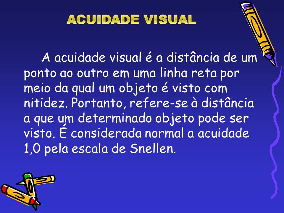 A acuidade visual é a distância de um ponto ao outro em uma linha reta por meio da qual um objeto é visto com nitidez. Portanto, refere-se à distância
