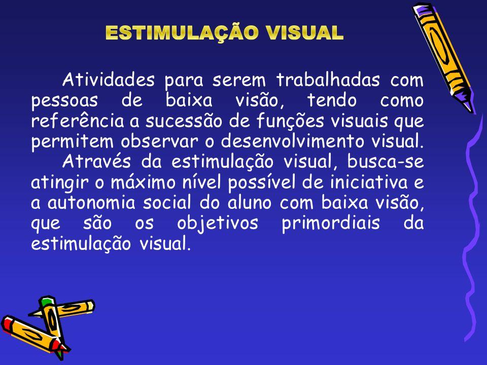 Atividades para serem trabalhadas com pessoas de baixa visão, tendo como referência a sucessão de funções visuais que permitem observar o desenvolvime